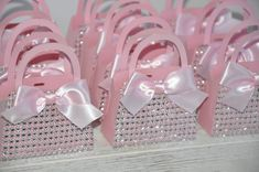 Pink Bling Diamond Mini Purse Favors with Bows for Baby Showers, Bridal Showers, Engagement Parties, Birthdays, Sweet 16 Set of 10 Sweet 16 Birthday, Birthday Parties, Decorated Gift Bags, Paper Purse, Barbie Birthday, Pink Bling, Baby Bling, Baby Showers, Bridal Showers