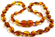 New Baltic Amber Baby Teething Necklace Olive Form Cognac Color Beads