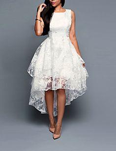 dda81d1c2d2 Femme Asymétrique Grandes Tailles Sortie Asymétrique Trapèze Robe Couleur  Pleine Blanc Eté Blanc XXXL 4XL XXXXXL