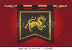 Black And Gold Medieval Banner Flag With Cloth Texture And Symbol ...
