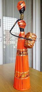 Cómo hacer unas lindas africanas reciclando papel periódico ~ lodijoella
