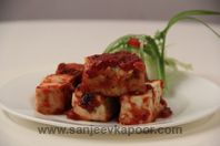 Grilled Paneer With Chilli Plum Sauce: Grilled paneer cubes served with spicy plum sauce.