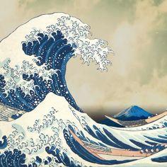 Japanese Wave Painting, Japanese Art Prints, Japanese Waves, Japanese Tattoo Art, Hokusai Artwork, Hokusai Paintings, Wave Drawing, Waves Wallpaper, Katsushika Hokusai