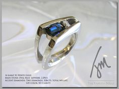 Custom Vanessa Ring with Oval Sapphire and Accent Diamonds