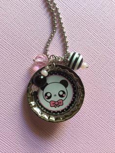 Cute Kawaii Panda Bottle Cap Charm Necklace Kawaii by ExactNature, $10.00