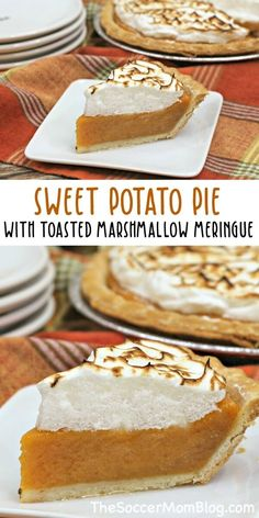 This sweet potato pie from Soccer Mom Blog is amazing! It has a yummy toasted marshmallow meringue that makes all the difference! This Fall, make this delicious sweet potato pie recipe as an easy dessert for your family. This pie would be perfect for Thanksgiving too! #thanksgiving #pie #recipes #sweetpotato #sweetpotatopie #desserts