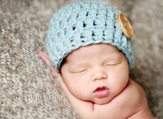 Knit Crochet Baby Boy Button Hat in Green  by OopsIKnitItAgain, $18.00