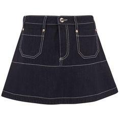 REDValentino Women's Mini Denim Skirt - Blue (14.045 RUB) ❤ liked on Polyvore featuring skirts, mini skirts, blue, red valentino skirt, blue skirt, red valentino, blue denim mini skirt and denim skirt