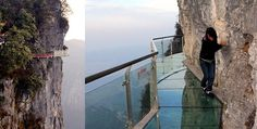 This 60 metre long, 1 meter wide and 2.5 inch thick glass bridge clings to the vertical wall of a cliff 1,500 meters (4,700 ft) above the ground!   Located on Tianmen Mountain in north western Hunan province in China, the glass sky walk offers incredible views of the surrounding mountains, as well as a pretty good view straight down the cliff under your feet, one would imagine.