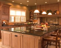 Kitchen Design, Traditional And Elegant L Shaped Kitchen Designs Also Huge And Luxury Kitchen Island Design With Teak Wooden Material And Brown Granite Countertop Also Classic Sink And Faucet And Classic Pendant Lights: L Shaped Kitchen layout for Pretty Home