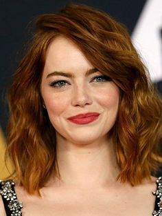 Textured lob Emma Stone red hair hairstle idea side part love this
