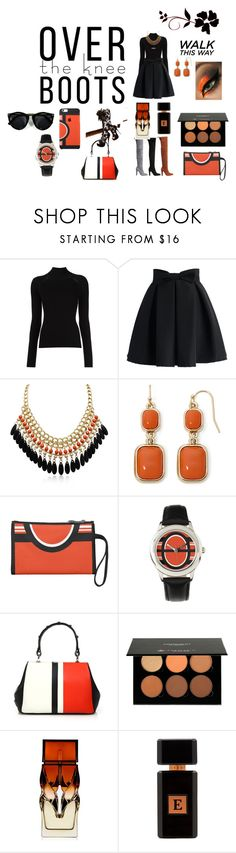 """Black and Orange High Boot Fashion"" by victoria-billings on Polyvore featuring Misha Nonoo, Chicwish, Liz Claiborne, Prada, Anastasia, Christian Louboutin and Avery Perfumes"