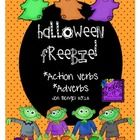 This is a great freebie with 4 printable pages for students to explore action verbs and adverbs with ghosts and zombies.