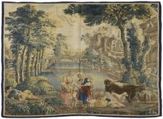 Monumental 18th C. Flemish Handwoven Tapestry
