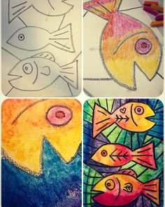 Tried a twist on the @silberzweig.art chalk fish lesson @cassie_stephenz posted on YouTube.  Began with black oil pastel on a sheet of 12x16 canvas from @blickartmaterials.  Then used soft pastels and water for color before adding more line detail with the oil pastel.  Bright, bold, and fun! #arted #arteducation #artteacherexample #elementaryart #sandrasilberzweiginspired #oilpastels #chalkpastels #artteacherinspiration #artteachersofinstagram Chalk Pastel Art, Soft Pastel Art, Soft Pastels, Chalk Pastels, Art Drawings For Kids, Art For Kids, Square One Art, Pastel Gras, Kindergarten Art Lessons