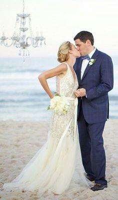 Dress, beach, wedding, groom, bride, tux, Navy blue, ocean, flowers