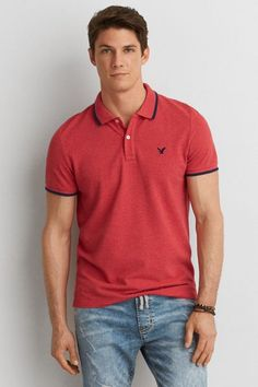 AEO Slim Tipped Jersey Polo, Men's, Size: 2XL, Red American Eagle Men, Mens Outfitters, Aeo, Polo Shirt, T Shirt, Lounge Wear, American Eagle Outfitters, Active Wear, Portraits