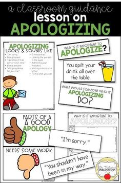 Lesson to use to help students understand why it is important to apologize and how to apologize. Social Skills Activities, Teaching Social Skills, Counseling Activities, Social Emotional Learning, Career Counseling, Teaching Boys, Elementary School Counseling, School Social Work, School Counselor