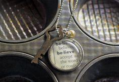 Vintage Dictionary Word Necklace Pendant BELIEVE by www.kraftykash.net $26.00 #etsy #handmade