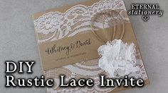 How to make rustic lace pocket wedding invitations with cork tag | DIY invitation - YouTube