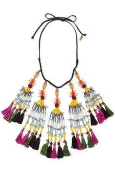 Etro - Beaded Tassel Necklace - Black - one size