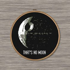 Instant download PDF cross stitch pattern of the Death Star and Star Wars quote: Thats no moon Pattern includes: Colored image of completed pattern (Page 1 of PDF) Symbol Grid (Page 2 of PDF) DMC Color Chart (Page 2 of PDF) Size: Approximately 6.6 x 7.4 (14 count Aida fabric) 93 cross