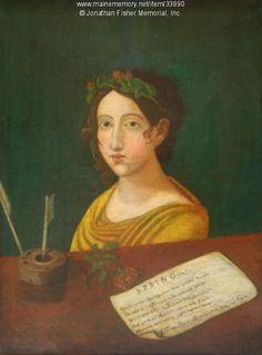 Fisher daughter, 1822. Jonathan Fisher's portrait of one of his daughters. Poem of spring is depicted on lower right part of the canvas. Item # 33890 on Maine Memory Network