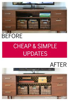How to update a TV credenza or shelf with some starch, fabric and a little spray paint. Super simple and affordable DIY idea. Great way to customize your home decor.