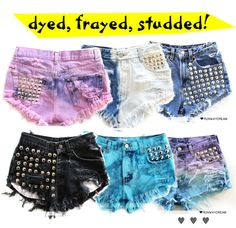 D-I-Y Pink Ombre Shorts with Studs! - diy fashion