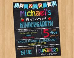 First Day of School Sign First Day of by KidsPartyPrintables