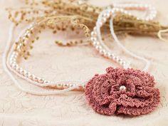 Necklace-Bohemian Wedding JewelryCrochet Pink Rose by PinaraDesign