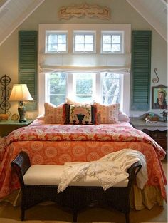 Indoor shutters with shade covering lower windows with transom windows left bare....Alison Kandler's Colorful Farmhouse (25)