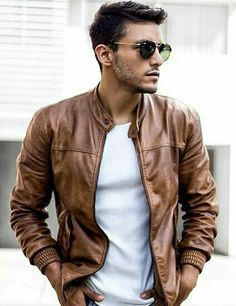 ☆Brown leather jacket