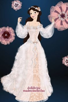 Beautiful cream and ivory medieval-style wedding dress design ~ by mimig ~ created using the Princess doll maker | DollDivine.com