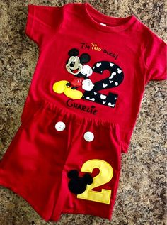 Birthday Mickey Mouse Twodles Shirt and Shorts outfit with name, and number on shirt - Mickey and number on shorts
