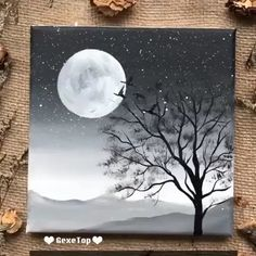 Simple Canvas Paintings, Small Canvas Art, Easy Canvas Painting, Diy Canvas Art, Sky Painting, Rock Painting, Art Oil Paintings, Easy Acrylic Paintings, Sillouette Painting