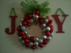 wreath made out of ornaments - going to try this next year with all my old ones!!