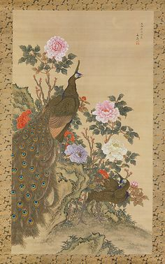 Tani Bunchô, (Japanese, 1763–1840). Peacocks and Peonies, 1820. Edo period (1615–1868). Japan. The Metropolitan Museum of Art, New York. Charles Stewart Smith Collection, Gift of Mrs. Charles Stewart Smith, Charles Stewart Smith Jr., and Howard Caswell Smith, in memory of Charles Stewart Smith, 1914 (14.76.51) #peacock