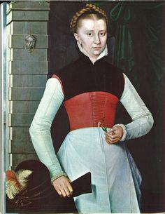 c.1567_Portrait of a Woman,   Artist: Adriaen van Cronenburg  Prado Museum. Part of a series of 5 set in the same place--one now missing.