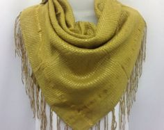 Gold Scarf with Fringe, Yellow square scarf, Gift for Boss,  Winter Scarf, Mustard scarf, Christmas Gift for Mother in law under 75 by blingscarves. Explore more products on http://blingscarves.etsy.com