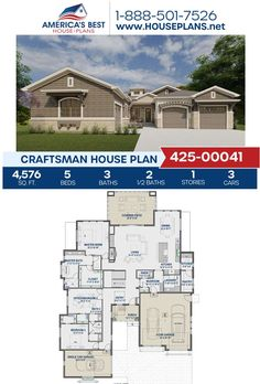 Introducing a Craftsman design, Plan 425-00041is featured by 4,576 sq. ft., 5 bedrooms, 3 bathrooms, 2 half bathrooms, a covered patio, a mud room, an office and a media room Learn more about this plan on our website today. Craftsman Style Homes, Craftsman House Plans, Half Bathrooms, Best House Plans, Patio Dining, Architectural Elements, Building Materials, Square Feet, Mud
