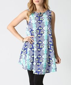 Love this Blue & Turquoise Geometric Pocket Tunic on #zulily! #zulilyfinds
