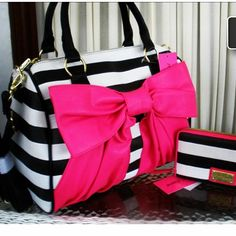black and white stripes and big pink bow love... unfortunately it's just a picture and not a link to this fab bag.