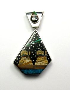 Image 0 of Reversible Navajo Inlaid Yei Starry Nite Monument Valley Pendant, Ray Jack