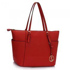 Kabelka - tote, elegantná s príveskom, červená