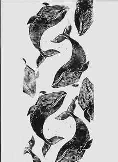 Lino Cut print. more whales sorry