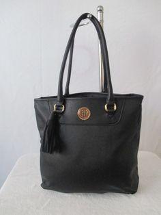 Tommy Hilfiger Handbag Tote Color Black Gold 6929306 990 Retail Price $89.00 #TommyHilfiger #Totes