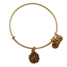 Alex and Ani Water Lily Charm Russian-Gold Expandable Bangle Bar Bracelet