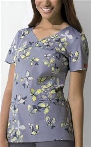"""Dickies Shaped V Neck Top in """"Knitting Butterflies"""" 82771-KBFY A Junior fit top features a stylized V-neck with binding at neck and angled pockets, shirring at the center front, side vents, front yoke, and back darts for shaping. Center back length: 26"""".  $24.50 #scrubs #scrubcouture #nurses"""