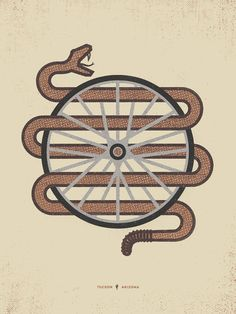 Project  Spoke Serpent  A limited edition, four-color (brick-brown, eggplant-brown, warm light grey, dark grey) hand-pulled 18″×24″ screenprint on 80lb, 100% PCW recycled cover stock.